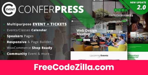 ConferPress - Multipurpose Event Tickets WordPress Theme Free Download