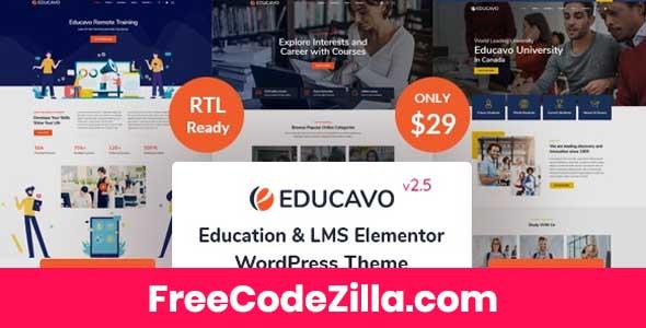 Educavo – Online Courses & Education WordPress Theme Free Download