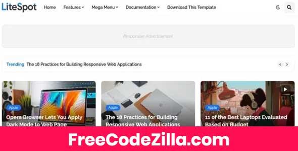 LiteSpot Blogger Template Free Download